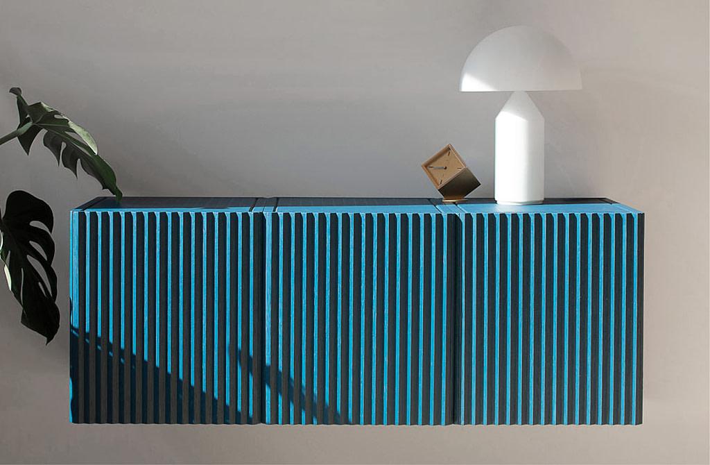 caussa pleat cabinet blue interior corrugated cladding